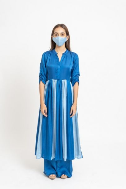 Neora Electric Blue Panelled Kurta