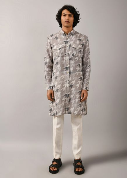 Countrymade Houndstooth Front Open Kurta
