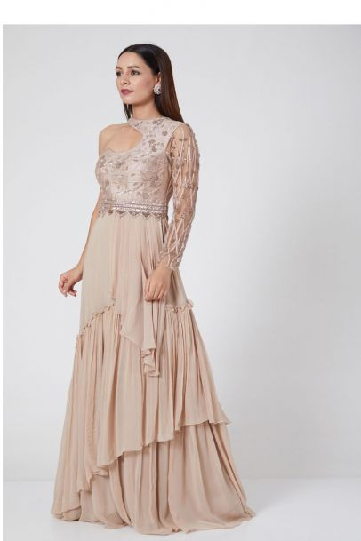 Jade by Ashima Pastel Peach Gown