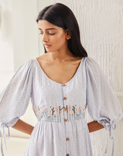 Pernia Qureshi Brands Blue Floral Embroidered Button-down Dress