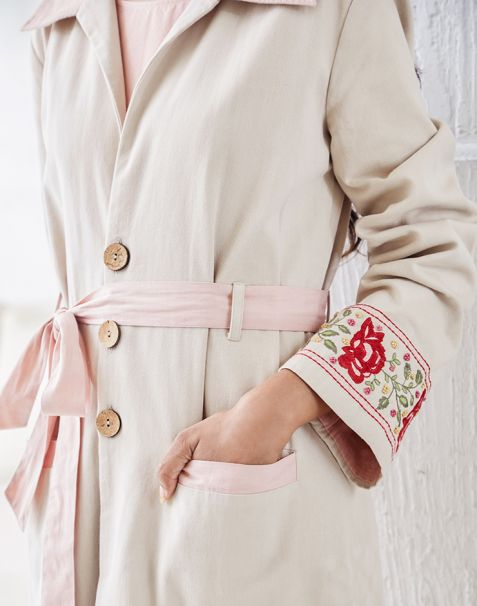 Pernia Qureshi Brands Beige Embroidered Trench Coat