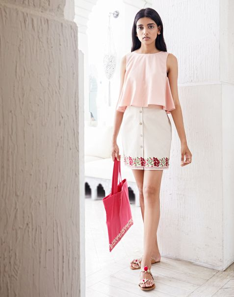 Pernia Qureshi Brands Beige Embroidered Button-down Mini Skirt