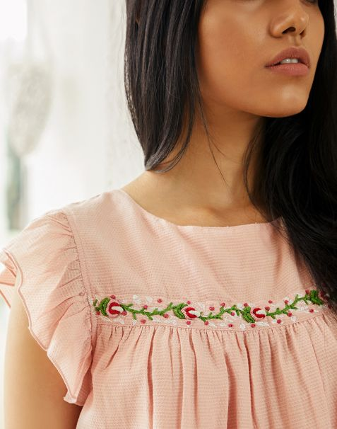 Pernia Qureshi Brands Pink Embroidered Top