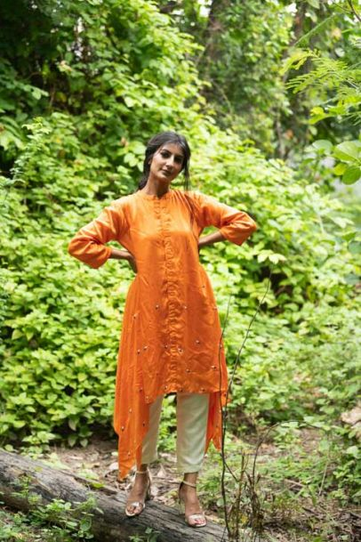 Neora Orange Button Down Kurta