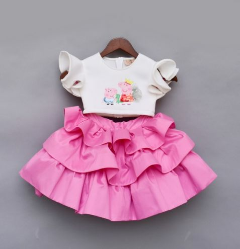 Fayon Kids Off White Top With Pink Skirt