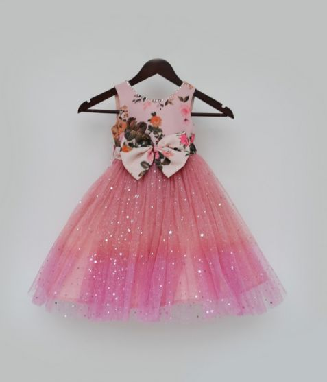 Fayon Kids Peach Floral Yoke With Shimmer Net Flair Gown