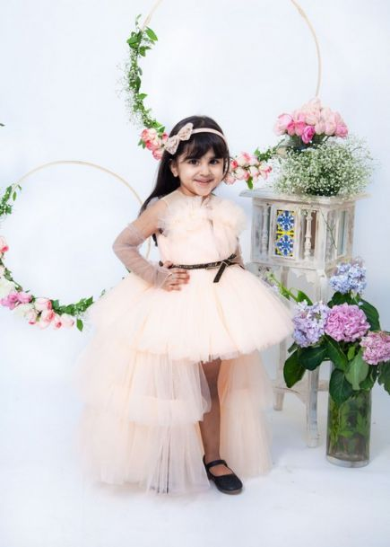 Fayon Kids Peach Gown With Cape