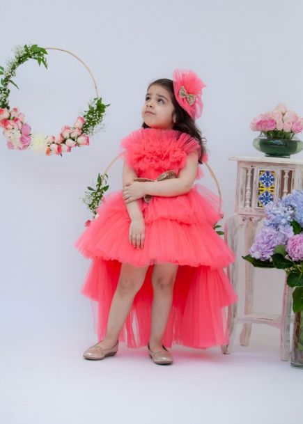 Fayon Kids Pink Shimmer Net Gown