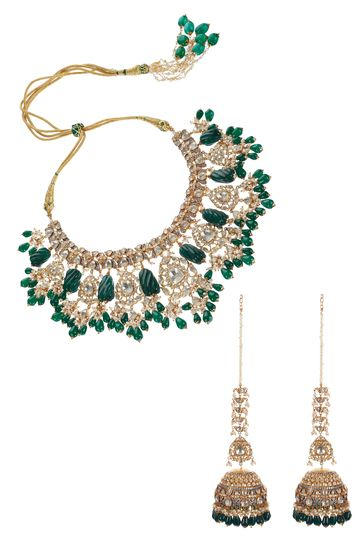Ra Abta Tulip Open Polki Set With carved Green emeralds