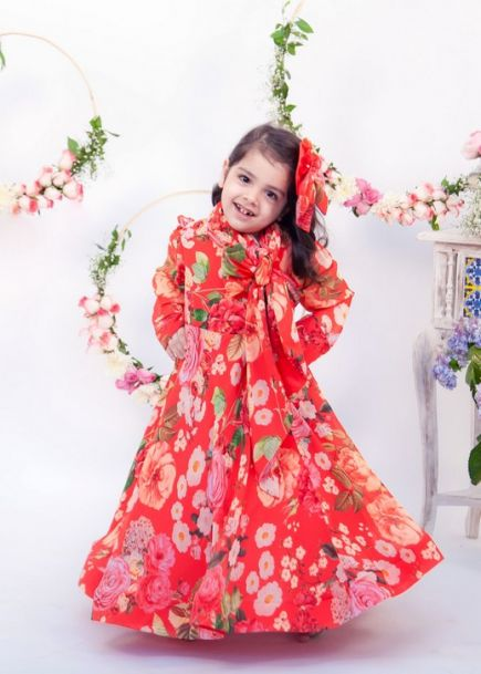 Fayon Kids Red Floral Gown