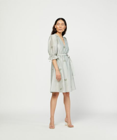 Meadow Label Sage Embroidered Dress