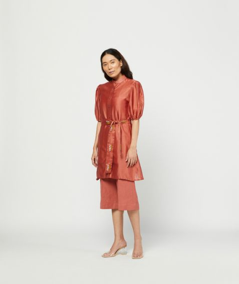 Meadow Label Carmine Embroidered Tunic Set