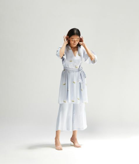 Meadow Label Mist Embroidered Tunic Set