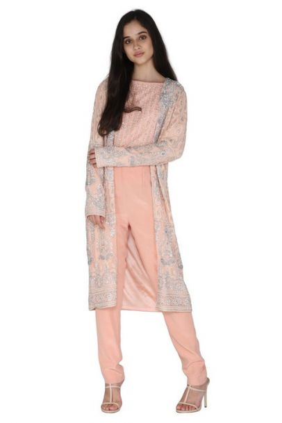 Pernia Qureshi Brands Jacket With Crop Top And Pants Set
