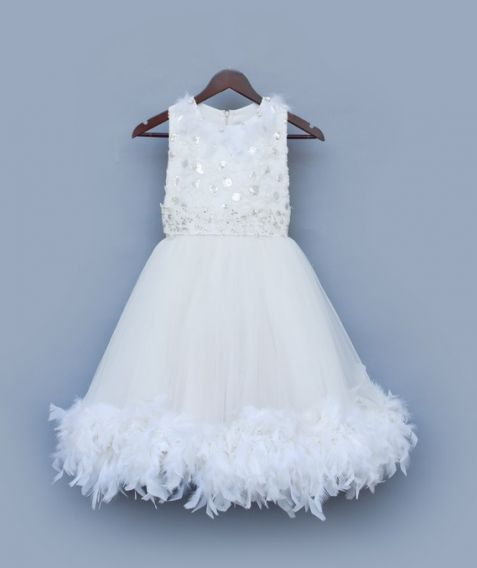 Fayon Kids White Frock With Feathers